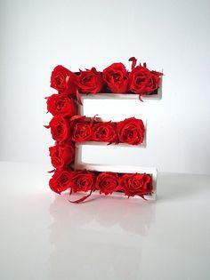 Lettre Végétale avec Roses stabilisées ROUGES,12cm Rose Stabilisée, Artsy, Alphabet Letters, Green, Design, Plants, Planting Flowers, Letters, Children