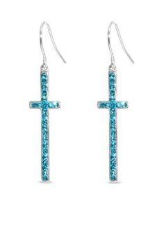 Belk Silverworks  Fine Silver Plate Blue Crystal Cross Earrings