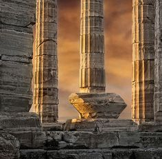 The Temple of Poseidon, cape Sounion, Greece.