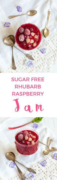Healthy, pretty, pink and sugar free rhubarb raspberry jam.