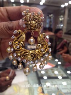 Gold nakshi work chandbalis from Premraj Shantilal Jain Jewellers. For inqui. Indian Wedding Jewelry, Bridal Jewelry, Gold Jewelry, Jewelery, Ear Jewelry, India Jewelry, Temple Jewellery, Indian Jewellery Design, Jewelry Design