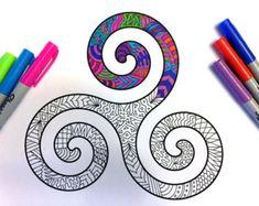 Kiss Mark PDF Zentangle Coloring Page by DJPenscript on Etsy