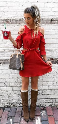 #fall #outfits women's red cold-shoulder mini dress
