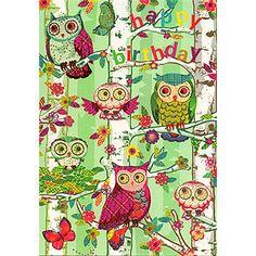 Owls in Trees Happy Birthday Card