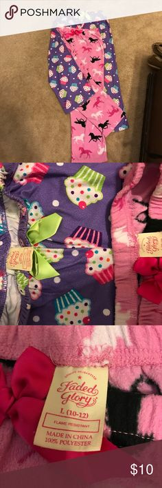 Faded Glory pjs 2 pair of Faded Glory pajamas both pairs are size 10/12 girls. Visible signs of wear but still have lots of life in them for someone's little princess! Faded Glory Pajamas Pajama Bottoms