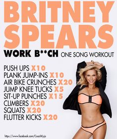 Britney Spears Work B**ch - one song workout Fitness Workouts, One Song Workouts, Workout Songs, At Home Workouts, Fitness Tips, Fitness Motivation, Health Fitness, Cheer Workouts, Morning Workouts