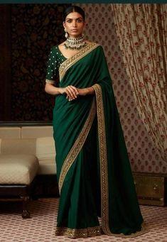 Emerald Green Color Silk Saree