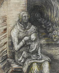 Henry Moore ~ Shelter Drawing: Seated Mother and Child, 1940-42