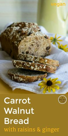 Wholesome breakfast bread is as easy to make as it is delicious. Toast up some Carrot Walnut Bread w/ Raisins & Ginger! By An Unrefined Vegan. #fall #vegan