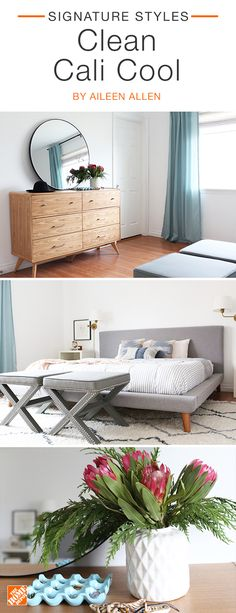 Design your bedroom with a cool, California-inspired vibe and you may never want to leave. Mid-century staples like the dresser and bed frame steal the show while greenery and minimalistic accents complete the look. We partnered with blogger Aileen Allen to create this inviting space. Click to shop these on-trend products.
