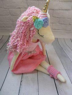 Unicorn  fabric doll plush Unicorn gold magic horse Cloth doll Handmade doll Girls room decor Dress up doll Nursery decor Textile doll rag