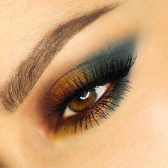 Gold and teal eye makeup