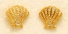 14K Gold Plated Sterling Silver Clam Shell Post Stud Earrings, 1/4 inch Silver Messages. $17.99