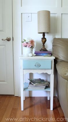 Thrifty End Table Makeover - Chalk Paint - After Styled - artsychicksrule.com #chalkpaint #duckegg #shabby #coastal