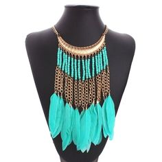 Choies Golden Boho B  Choies Golden Boho Beaded Faux Feather Tassel Chain Necklace (12 AUD) ❤ liked on Polyvore featuring jewelry, necklaces, gold, boho necklace, golden necklace, beaded tassel necklace, yellow gold necklace and gold necklace