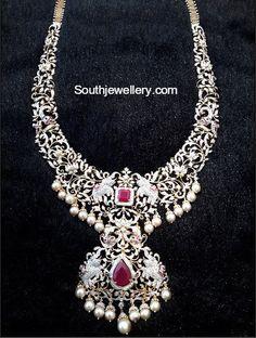 Diamond Haram with Detachable Pendant - Indian Jewellery Designs Diamond Necklace Set, Diamond Pendant, Dimond Necklace, Diamond Studs, Gold Jewellery Design, Gold Jewelry, Diamond Jewelry, Jewelery, Jewelry Findings