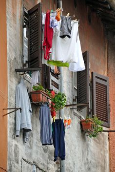 Rome, Italy.Even in a medieval village the laundry has to be done.