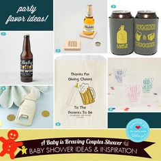 "How to Plan a Fun ""A Baby is Brewing"" Beer Themed Couples Shower. Your Complete Guide to Decorations, Favors, Invitations, and Comfort Food to Serve Guests. Baby Shower Favors, Baby Shower Themes, Brewing Beer, Wooden Coasters, Bottle Openers, Couple Shower, Cool Baby Stuff, Mom And Baby, Party Favors"