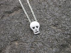 Tiny Sterling Silver Skull Necklace - Hand Sawn