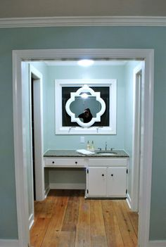 Mirror over the window - love it.  Via Young House Love