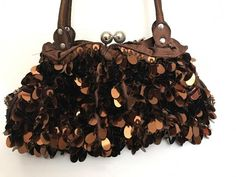 Pretty Vintage Brown Purse Sequined Beaded Purse by GenesisVintageShop on Etsy
