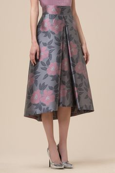 Floral print duchesse fabric skirt - Skirts & Shorts - Clothing