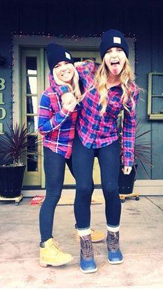 Boots, leggings, flannels, carhart hat. Sisters