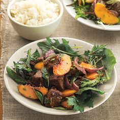 Stir-Fried Beef and Peach Salad - Sweet peaches meet their savory match in marinated steak, plus a robust vinaigrette with Asian influences. #myplate #fruit #protein