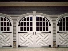 """chippendale garage doors - these work if you have the """"right"""" house Doors And Floors, Windows And Doors, Arched Doors, Exterior Design, Interior And Exterior, Cottage Exterior, Modern Interior, Garage Door Makeover, Carriage Doors"""