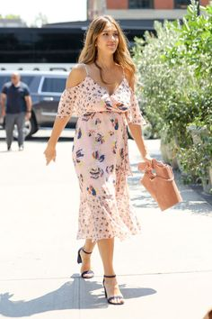 Jessica Alba In Tanya Taylor while walking around NYC