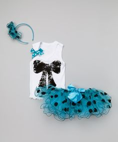 Do -- Look at this White & Blue Sequin Bow Tank Set - Infant, Toddler & Girls on #zulily today!