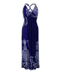 Navy & White Damask X-Back Maxi Dress - Plus #zulily #zulilyfinds
