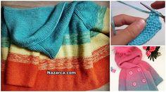 hood jack of-child-detailed-description of hirkai Crotchet Patterns, Baby Cardigan, Knitting Projects, Baby Knitting, Baby Dress, Bandana, Drawstring Backpack, Jumper, Towel