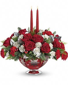 Teleflora's Silver And Joy Centerpiece - About Flower Products Conklyn's Florist. Opened in 1938 in Arlington,VA and King Street, Alexandria. For all your Flower Delivery. Christmas Flower Arrangements, Christmas Flowers, Christmas Table Decorations, Flower Centerpieces, Christmas Themes, Flower Decorations, Floral Arrangements, Christmas Holidays, Christmas Wreaths