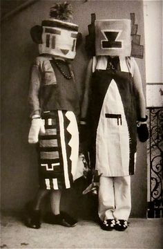 Sophie Taeuber & Erika Taeuber in Kachina Costumes Made By Sophie 1922