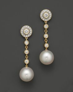 tara pearls 18k yellow gold white south sea cultured pearl and diamond earrings