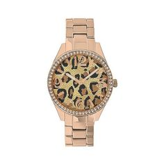 Women's Merona Animal Print Dial Watch,Rose Gold Bracelet with Stones,... ($16) ❤ liked on Polyvore featuring jewelry, watches, rs gld, pink gold jewelry, stone jewellery, red gold jewelry, merona and metallic jewelry