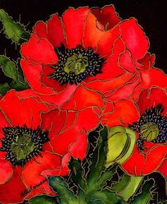 """The Brilliance of Watercolor: """"Red Poppies"""" by Kate Larsson Stained Glass Paint, Flower Pictures, Silk Painting, Red Poppies, Artist Art, Art Reproductions, Flower Art, Amazing Art, Watercolor Paintings"""