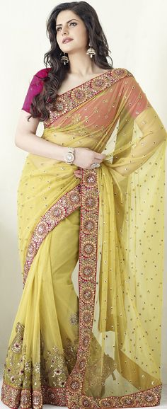 #Golden #Net #Saree with Blouse | @ $165.45
