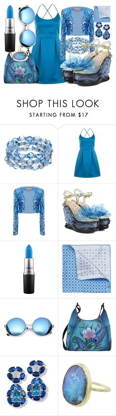 """""""Ocean"""" by bittersweetchemistry ❤ liked on Polyvore featuring Topshop, Miu Miu, MAC Cosmetics, Yves Saint Laurent, Revo and Anuschka"""