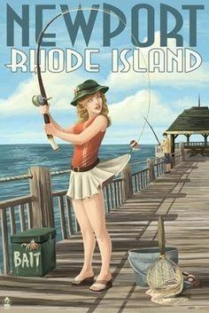 Newport, Rhode Island - Pinup Girl Fishing - Lantern Press Poster       #VisitRhodeIsland