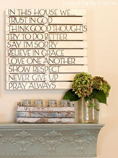 Pallet sign over mantle