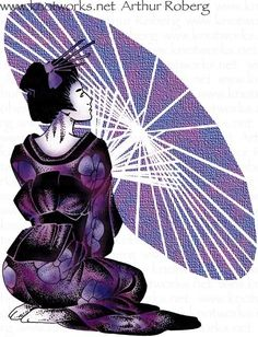 Love the purple of course (-; Geisha Art, Memoirs Of A Geisha, Art Asiatique, Purple Reign, All Things Purple, Shades Of Purple, Color Themes, Cute Pictures, Spiderman