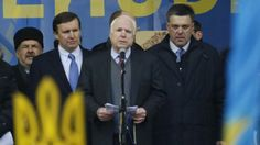 *** McCain is a warmonger and is fueling the war fire again.  Article: Senators McCain, Murphy join massive Ukraine anti-government protest, threaten sanctions