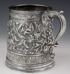 Antique sterling silver tankard by caldwell circa 1870