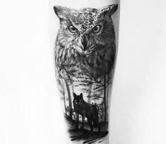 Tattoo photo - Owl and Wolf tattoo by Sergey Hoff Owl Tattoo Chest, Mens Owl Tattoo, Cool Chest Tattoos, Wolf Tattoos Men, Eagle Tattoos, Animal Tattoos, Owl Tattoos For Men, Anchor Tattoos, Bird Tattoos