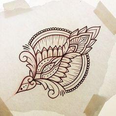 motif indien pour zentangle ou tatouage au henne