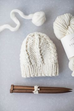Perfect for beginners. Only 1 skein required. Collaboration with Natalya Berezynska Wooden Knitting Needles, Double Pointed Knitting Needles, Knitting For Kids, Knitting For Beginners, Pom Pom Baby, Knitting Accessories, Chunky Yarn, Knit Or Crochet, Knitting Patterns