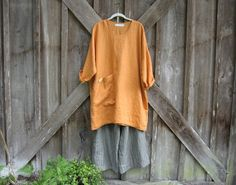linen tunic dress caftan in mango gold ready to ship