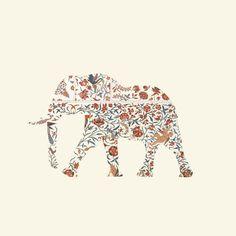 "$22.00 Elephant art print / mini (8"" X 8"") by Oleg Borodin"